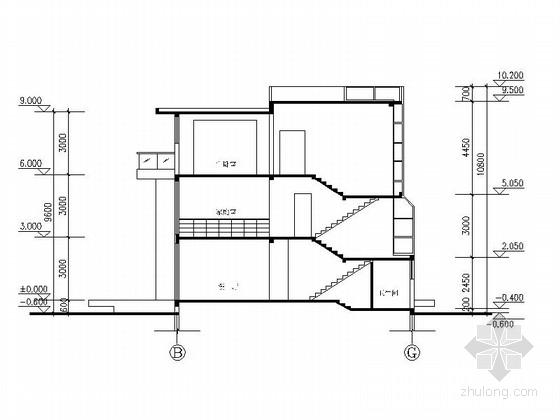 [上海]三层高档别墅及普通住宅楼建筑施工图-三层高档别墅及普通住宅楼建筑剖面图
