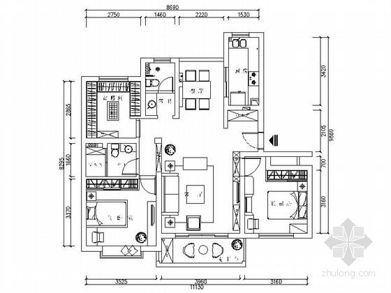 精品简欧风情两居室样板间CAD装修施工图(含效果)