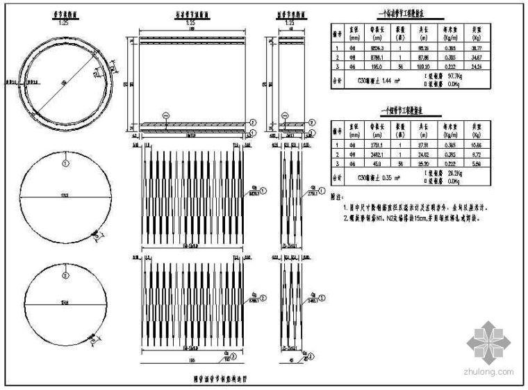 圆管涵斜管节钢筋构造图