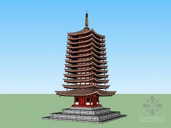 日式宝塔建筑sketchup模型下载