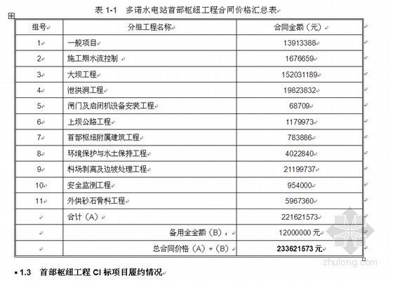 水电工程施工单位年度经营情况汇报材料(2010)