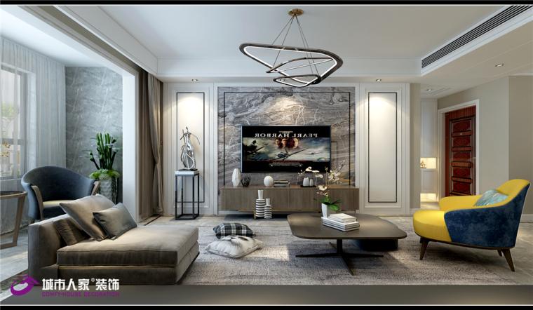 鲁能公馆130平三居室装修简约效果图