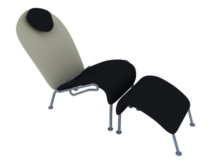 现代躺椅3D模型下载