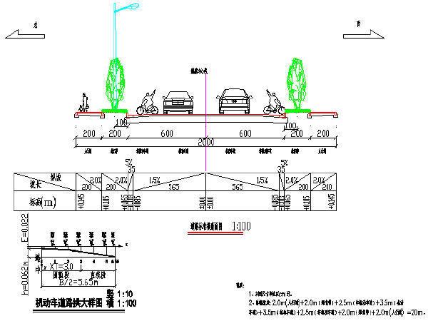 [湖南]两车道城市支路设计图84张CAD(含排水绿化交通路灯)
