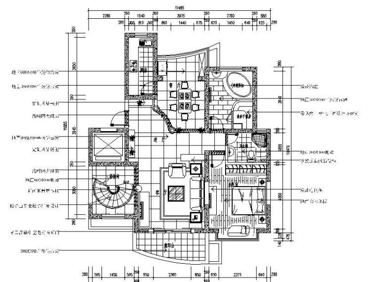 [南京]欧式风格复式住宅室内设计施工图(含效果图)
