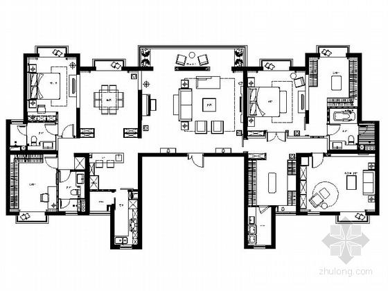 [上海]商业中心精品现代典雅四居室装修施工图(含效果)