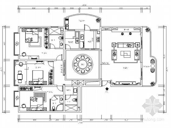 精品现代简约三居室室内装修施工图