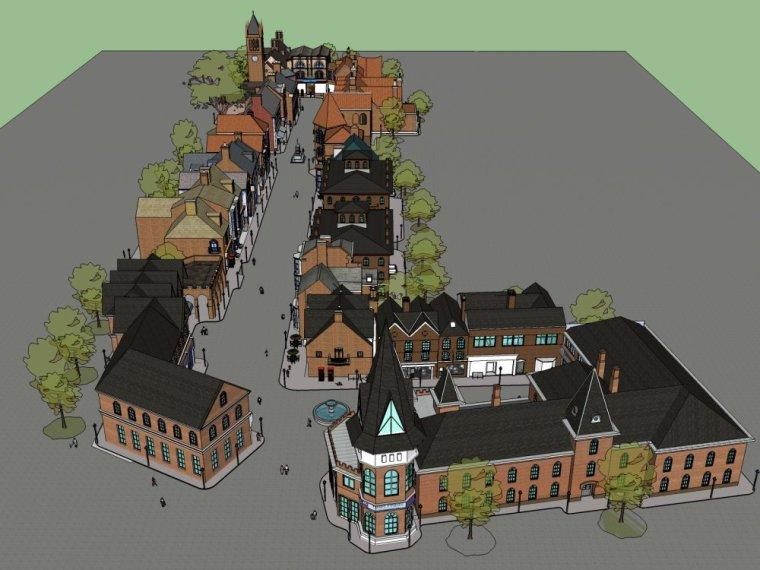 商业街,英式风格2层商业街模型设计skp