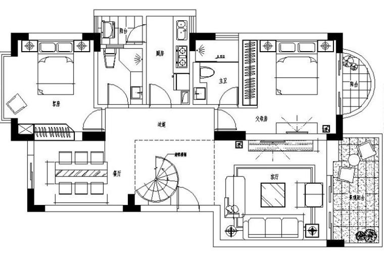 [深圳]现代简约复式样板房设计施工图(含效果图)