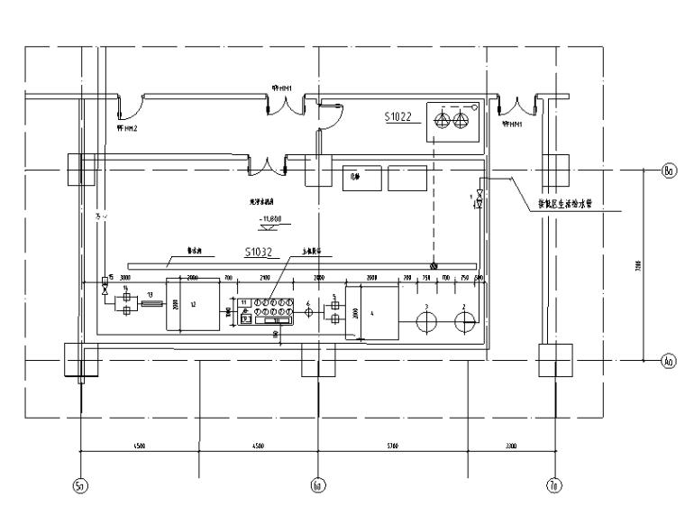 江苏某工程纯净水机房平面及工艺流程图