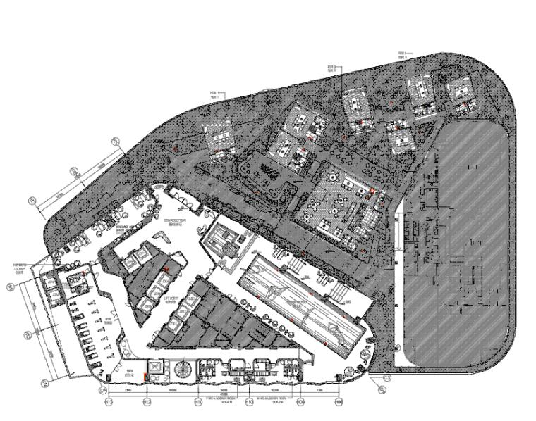 [陕西]君悦特色酒店公区设计施工图+效果图-4五层平面布置图