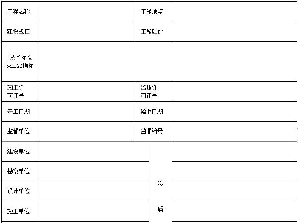 公路工程竣工验收报告表格