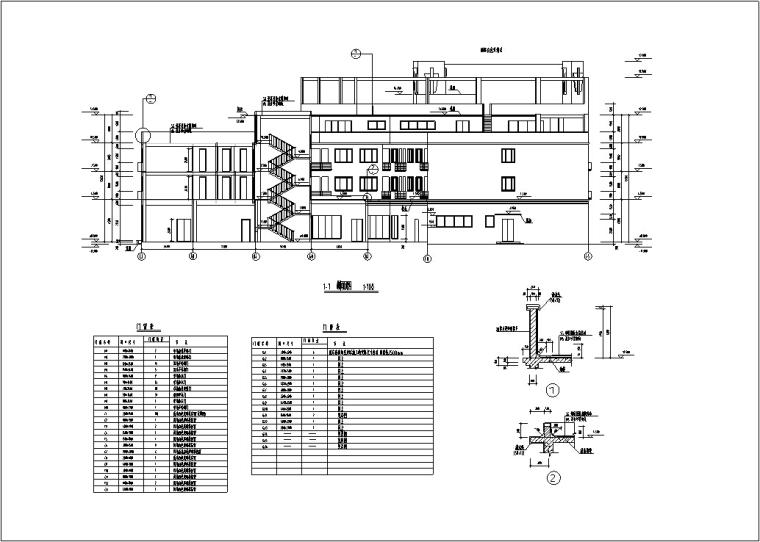 5套现代多层宾馆酒店建筑设计施工图CAD-豪泉多层酒店建筑设计剖面图门窗表