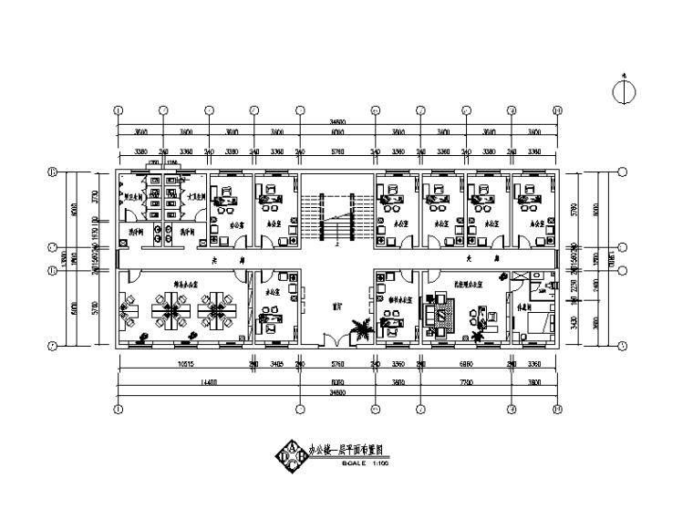2000平米办公楼设计CAD施工图(含3D文件)