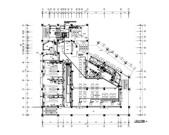 四层框架结构食堂全套施工图(建筑结构水电暖)-三层电力平面图