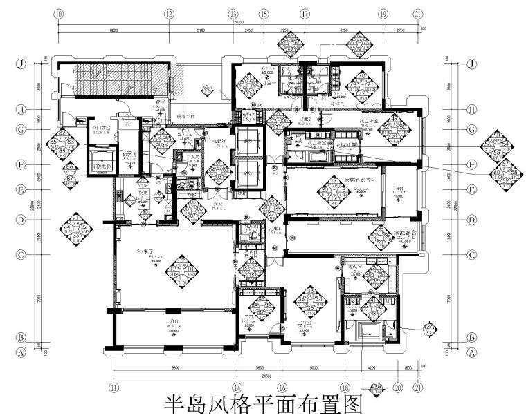 [南昌]新力洲悦法式半岛风格样板房装修施工图+高清效果图