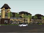 现代中式风格商业街建筑模型设计
