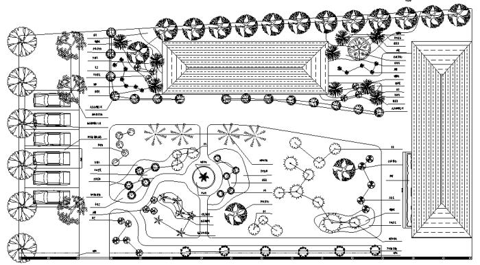 园林各类绿地景观设计CAD平面图346套(赠送CAD素材图库)-某庭院景观设计绿化平面图