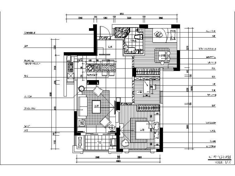 [杭州]时尚简约样板房设计施工图(含效果图)