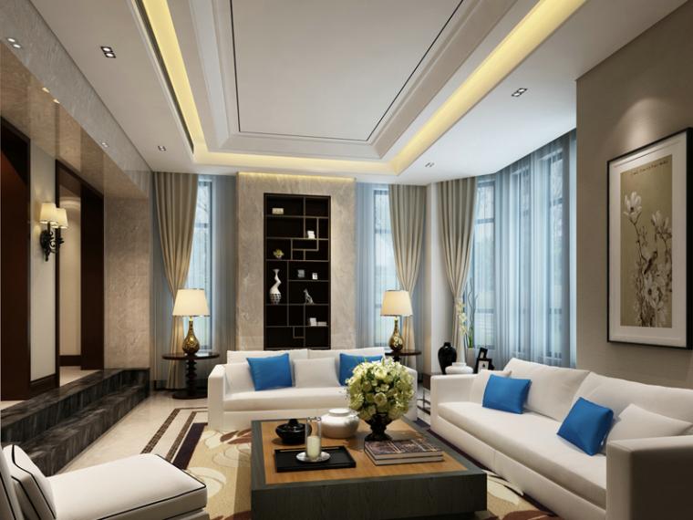简约现代欧式客厅3D模型下载