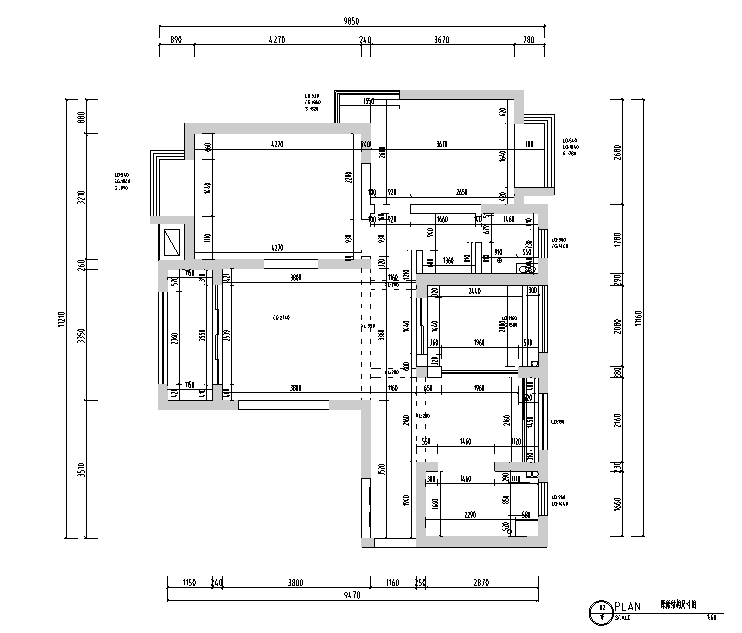 黑白灰色调现代风格样板房设计施工图(附效果图)_3
