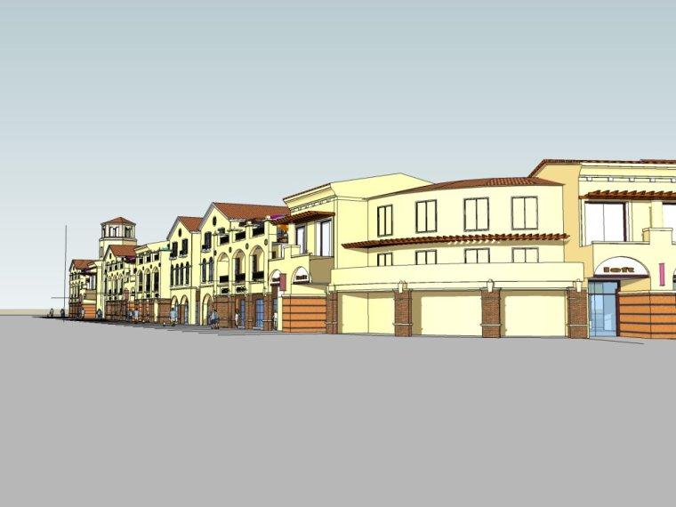 某商业街二层欧式风格建筑设计模型