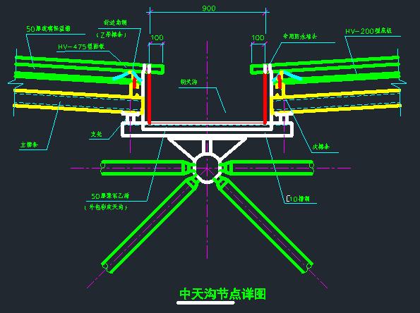 天沟(中天沟、边天沟)节点详图