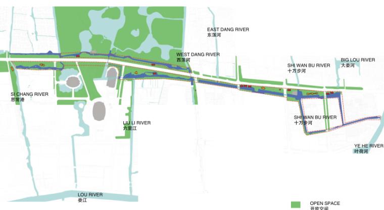 [江苏]东风河生态景观改造框架规划景观规划设计(PDF+39页)-开放空间