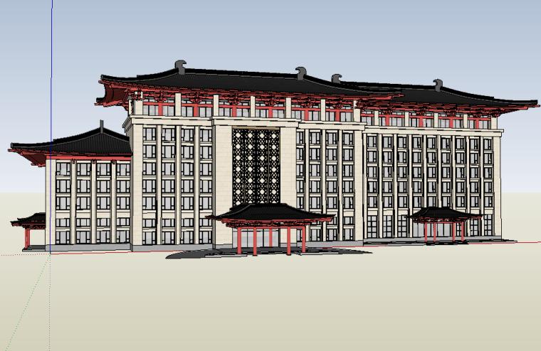 唐代风格酒店建筑设计模型