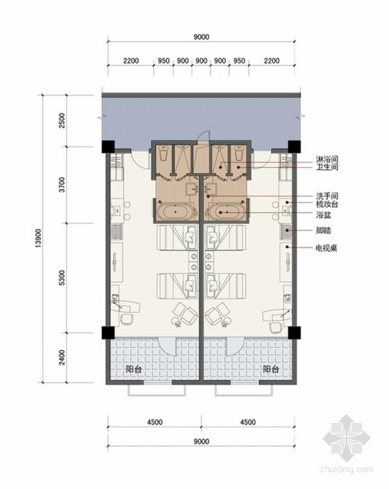 客房标准间平面图