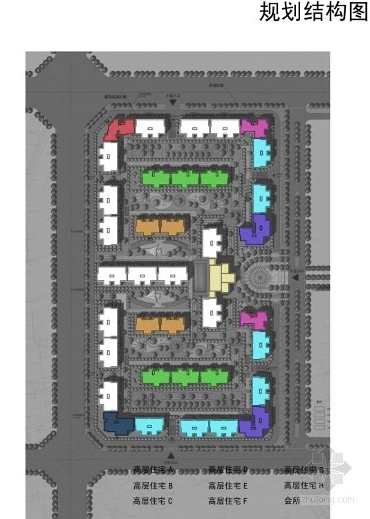 [成都]纯净主义风格高层住宅区规划设计方案文本-纯净主义风格高层住宅区规划分析图