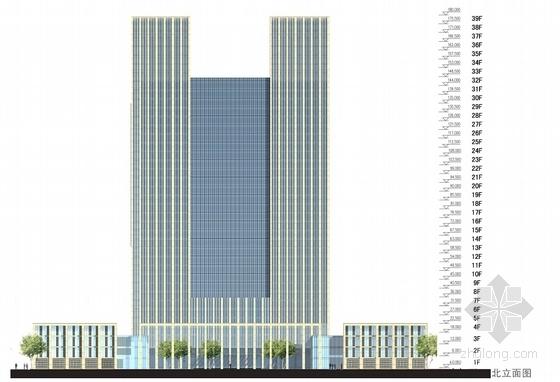 [西安]39层180米办公综合体建筑设计方案文本-39层180米办公综合体立面图