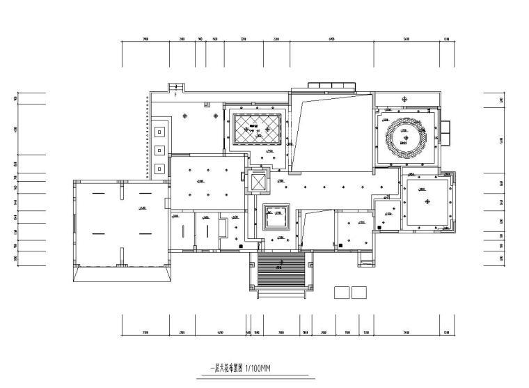 现代风格豪华家装设计施工图效果图-天花布置图