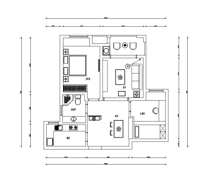 [江苏]流年—盛世孔雀城C户型样板房设计施工图(附效果图)