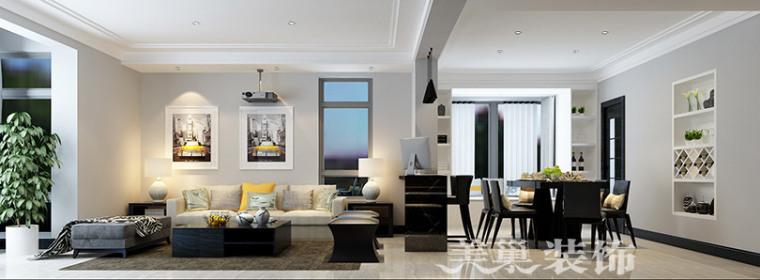 正商新蓝钻150平装修,5.6万打造时尚简约三居室