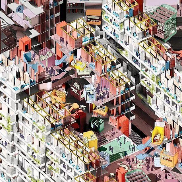 建筑景观界爆款效果图表达——插画系列