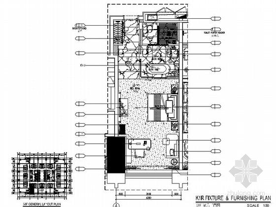 [广东]豪华商务酒店客房样板间室内装修施工图