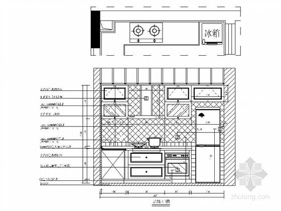 [广东]独特简欧风格四居室样板间装修施工图(含效果及实景)厨房立面图