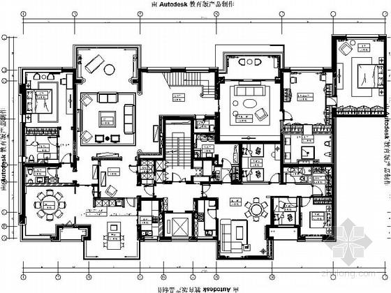 [北京]现代简约舒适三层别墅室内设计CAD施工图