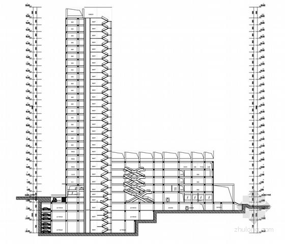 [广西]红砖立面高层儿童医院建筑设计方案文本-红砖立面高层儿童医院剖面图