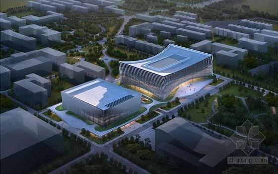 """[西安]现代风格对称式""""弯月""""型大学图书馆及大学生事务中心建筑设计方案文本"""