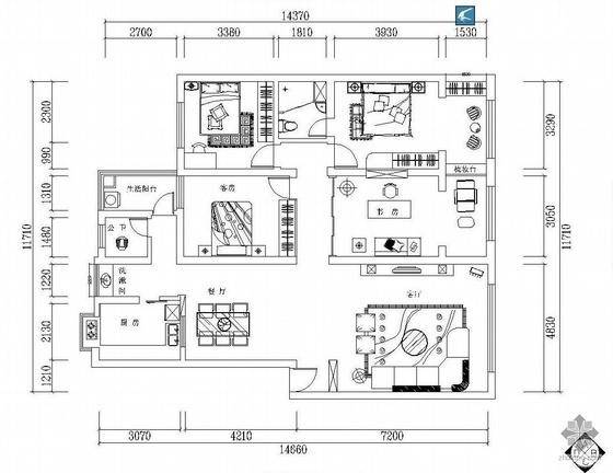 家装四室两厅设计图(含效果图)