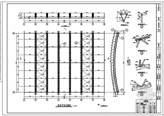 某篮球馆屋面桁架结构设计图