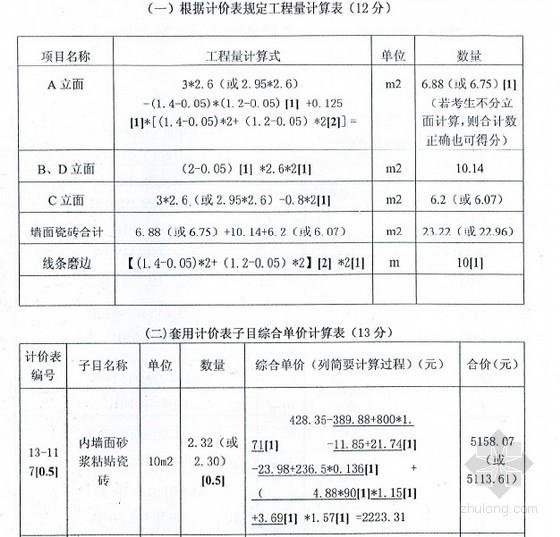 [江苏]2013年造价员(装饰)实务考试答案