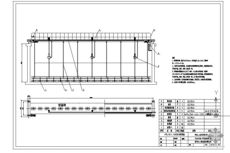 某化纤公司污水处理工程16米行车式吸泥机图