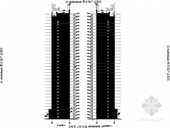 [安徽]Artdeco风格三十二住宅安置区建筑施工图(画图精细推荐参考)-Artdeco风格三十二住宅安置区建筑剖面图