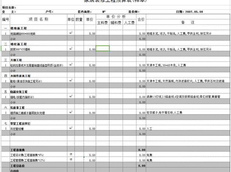 装修施工队家庭室内装饰工程预算表(样本)