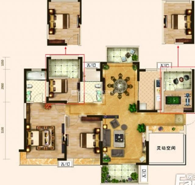 雅居乐145平方三室两厅现代简约风设计效果图