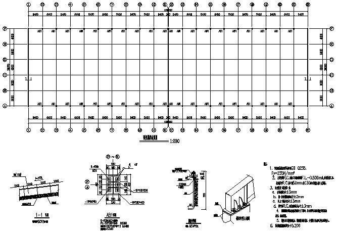 108X30m门式刚架钢结构厂房工程施工图(CAD,7张)