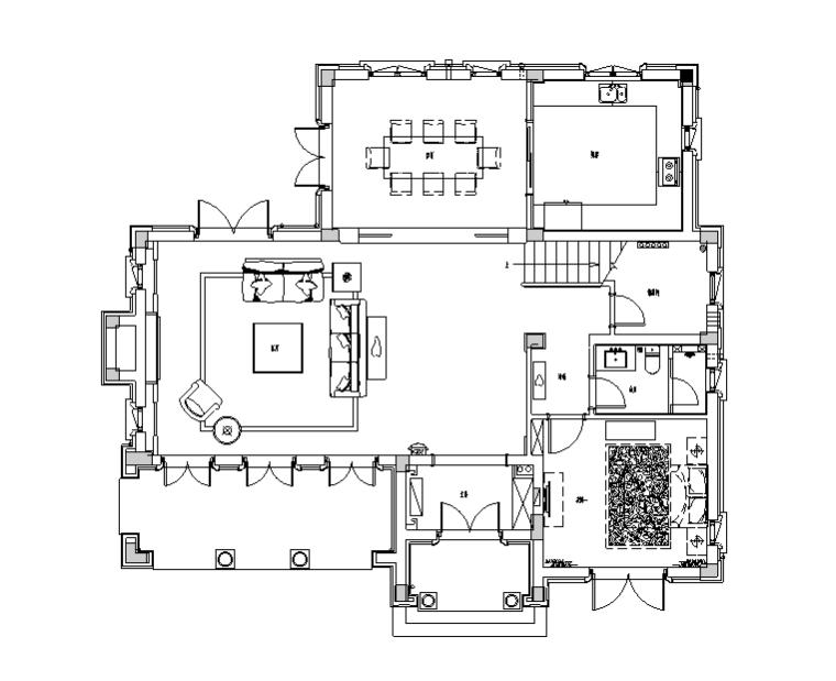 新古典中式风桃花源别墅样板房设计施工图(附效果图)